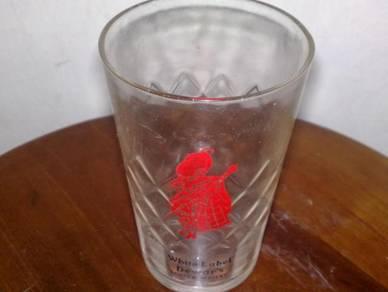 Cawan antique dewar's white label glass cup