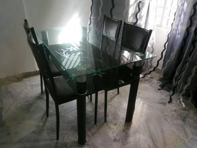 Dining set meja makan 1 table 4 chairs kaca glass