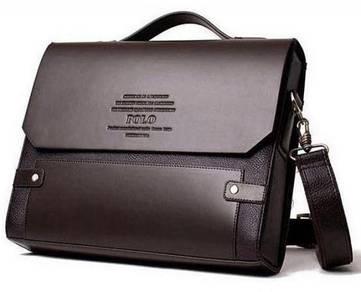 Genuine Leather Polo Men's Briefcase Messenger Bag