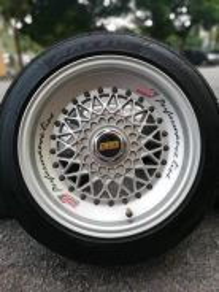 Bbs rs 15 inch sports rim vios tyre 70%