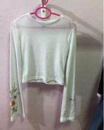 H&M; bell sleeve white froral top blouse