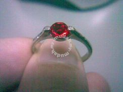 ABRSB-R006 Red GEMSTONE JEWELRY SILVER RING Size 7