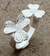 ABRS9-F007 Solid Silver Charm Fashion Flower Ring