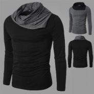 Heap Collar Slim Fit Long Sleeve T-Shirt (Black)