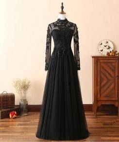 Black long sleeve lace wedding prom dress gown RBP