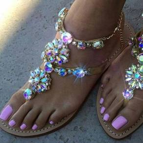 Gold diamond summer party sandals RBH0169