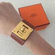 Authentic hermes Kelly Dog Leather Bracelet Cuff