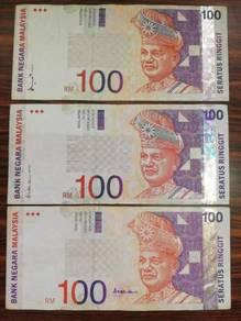 3pcs RM100 8th ,9th ,10th Banknote