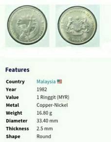 1982 Duit syiling PRUF ~ 25 Tahun Merdeka.