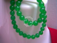 ABNJ-G006 Green Jade 6mm Round Beads 16'' Necklace