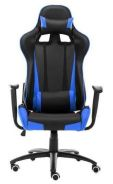 Shocking Blue Striped PU Leather Gaming Chair