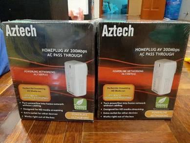 New&Sealed;> Aztech homeplug AV200mbps AC pass