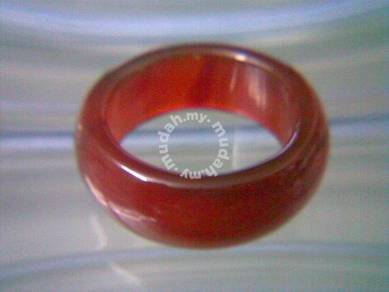 ABRJ-R002 Red Natural Jade Ring - Size 10.5 - 11mm