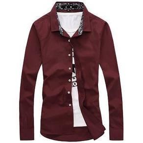 512 Kemeja Lengan Panjang Maroon Long-Sleeve Shirt