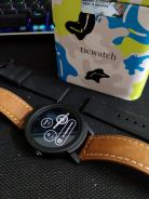 Ticwatch E BLACK with leather and silicon strap