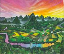 Canvas Oil Painting Li River And Nan Mountains