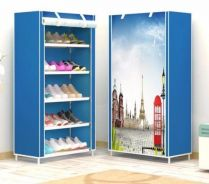 6 Tier Modern Shoe Rack With Curtain Dustcover