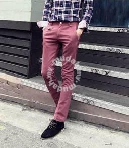 Dent Men's Korean Casual Straight Cut Pants - Pink