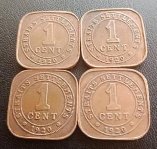 Straits Settlements 1 Cent 1920 (Set C)