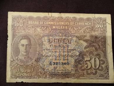 Malaya king george 50cents
