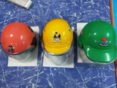 Helmet budak Minie,Angry bird & dolphin