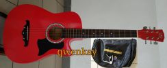 Acoustic Guitar 38Inch A&K #010 Bright Red