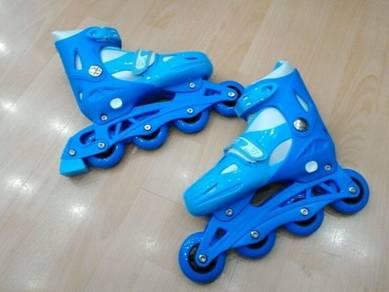 Kasut roda roller blade biru kids dan dewasa `