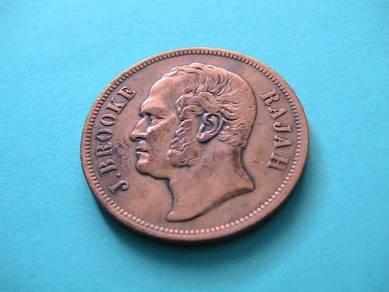 One Cent Rajah James Brooke Sarawak 1863 [A16803]