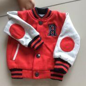 Varsity baseball baby jacket elbow patch