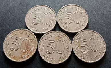 Duit Syiling 50 Sen 1967 (5 pcs Set G)