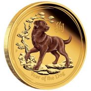 2018 Year of the Dog 1oz Gold Proof Coloured Editi