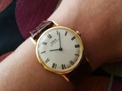 Vintage 1970 ORIS 18k GP Watch with box and paper