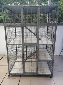 Sangkar Kucing 2 Pintu Beroda