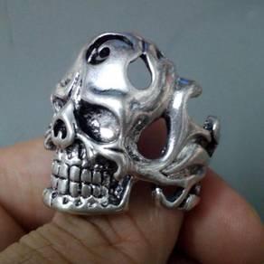 ABRSM-S015 Vintage Rocker Skull Silver Ring Sz 9.5