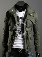 Military Army COOL Style Slim Coat Jacket (Green)