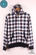 MS097 Terry Hooded Slim Plaided Sweater Jacket (A)