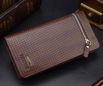 Wolves Men's Clutch Long Wallet Zipper Bag (Brown)