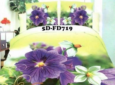 5D-FD719 Cadar 3D 5D + Comforter Tebal 7Pcs