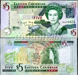 East Caribbean 5 Dollars 2008 P 47 UNC