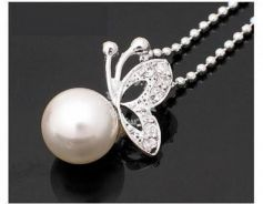 ABPSM-B010 Butterfly Pearl Lovely Silver Necklace