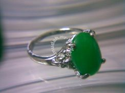ABRSJ-G005 Silver Metal Green Jade Oval Ring Sz6.5