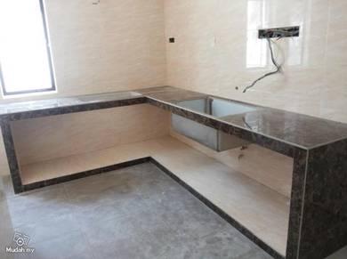 Concrete tiles 2'x2' kitchen tabletop