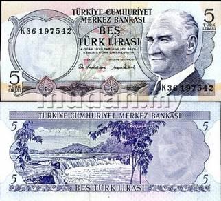 Turkey 5 lira 1970 ,1976 p 185 unc