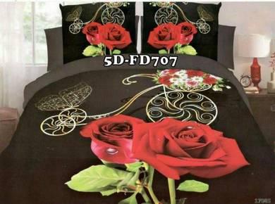5D-FD707 Cadar 3D 5D + Comforter Tebal 7Pcs