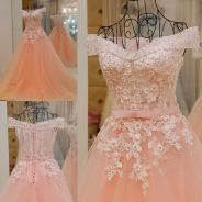Pink off shoulder wedding gown dress prom dinner
