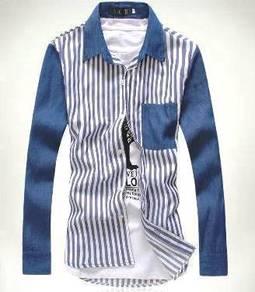 524 Kemeja Lengan Panjang Biru Long-Sleeved Shirt