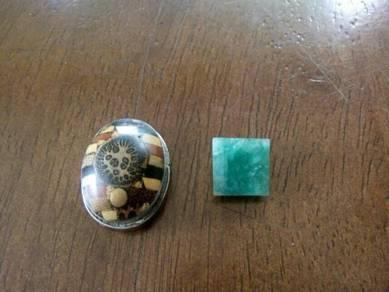 Batu permata cincin zamrud zambia & 21 teras
