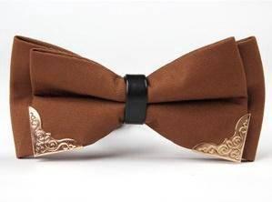 Fancy Style Plain Bowtie Tuxedo Bow Tie (Brown)