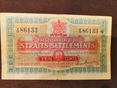 Straits settlement years 1919 ten cents