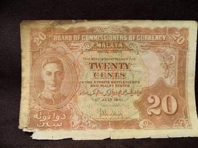 Malaya king george 20cents